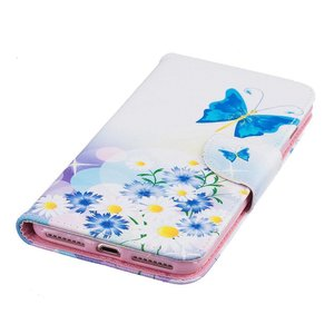 Blauwe vlinder iPhone 7 Plus portemonnee hoesje