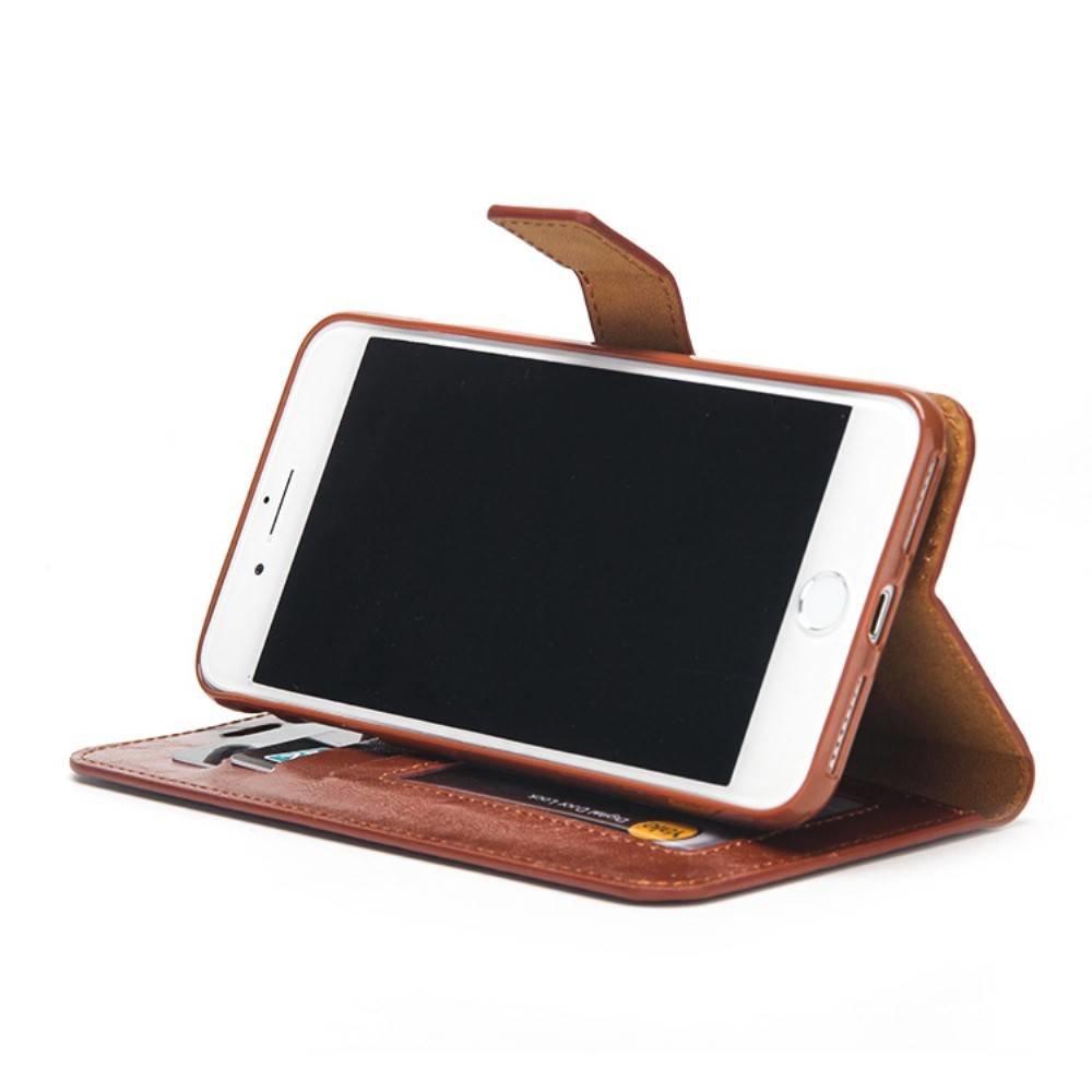 Crazy horse bruine pu leren iPhone 7 portemonnee hoesje met los te maken case case