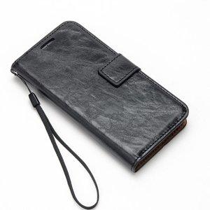 Crazy horse zwarte pu leren iPhone 7 portemonnee hoesje met los te maken case