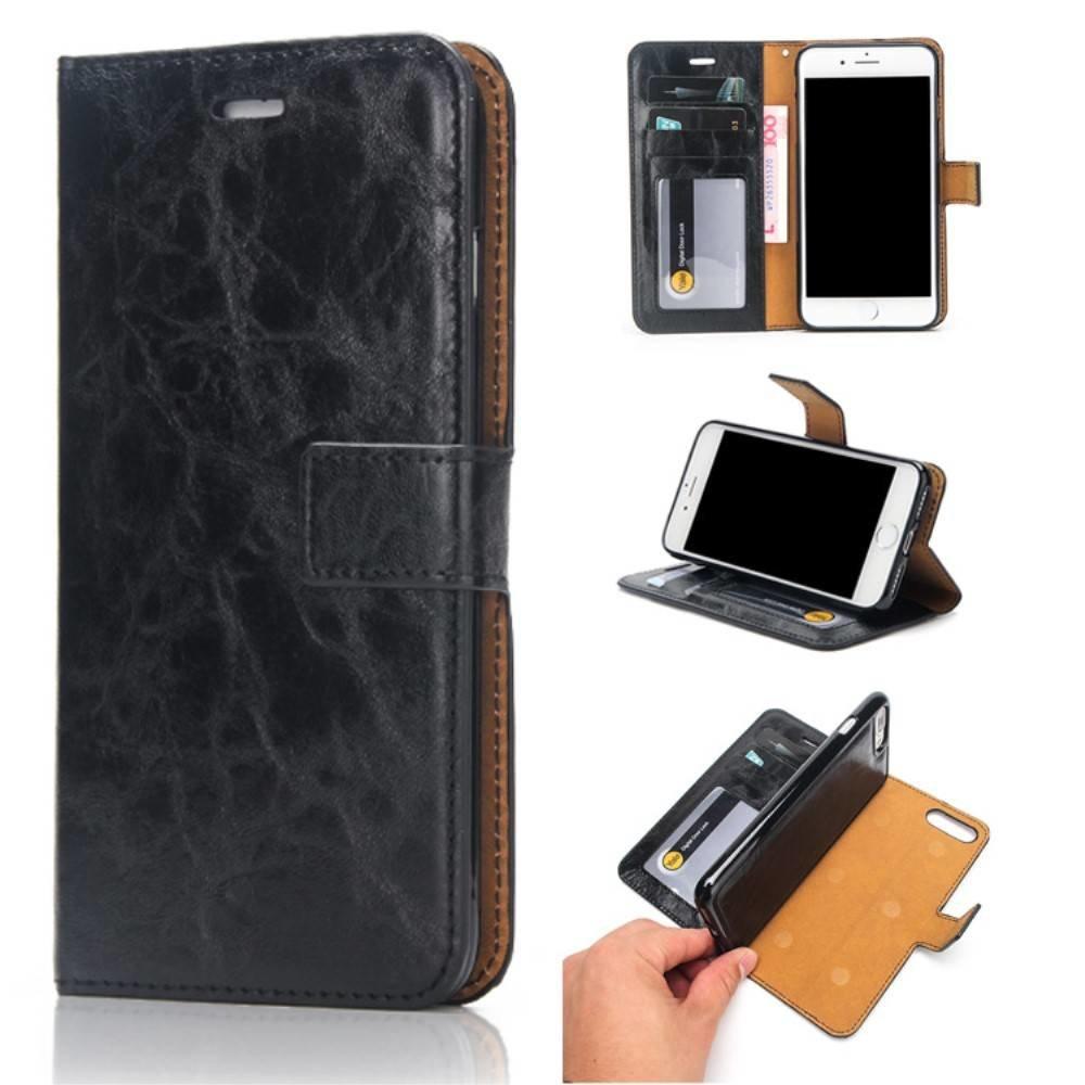 Crazy horse zwarte pu leren iPhone 7 plus portemonnee hoesje met los te maken case