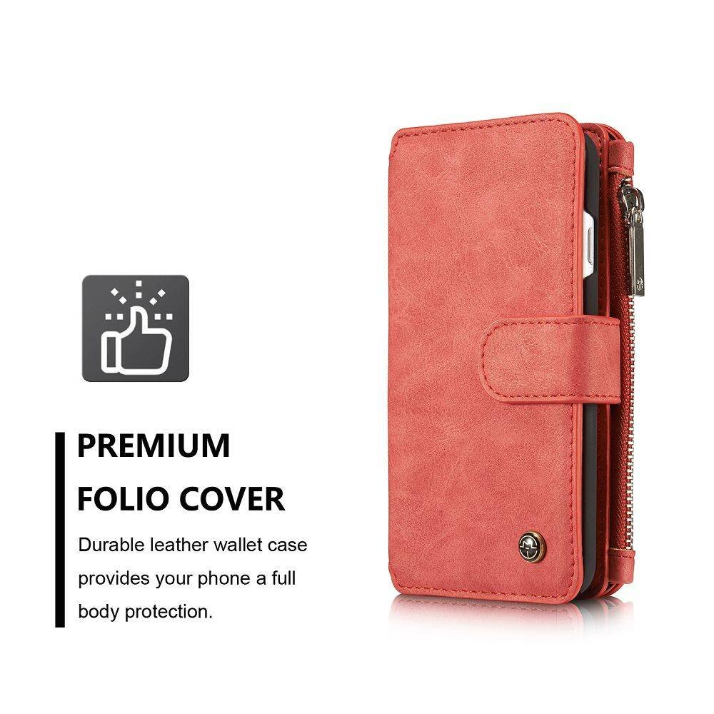 CaseMe 14 vaks 2 in 1 wallet hoesje iPhone 7 rood echt Split leer