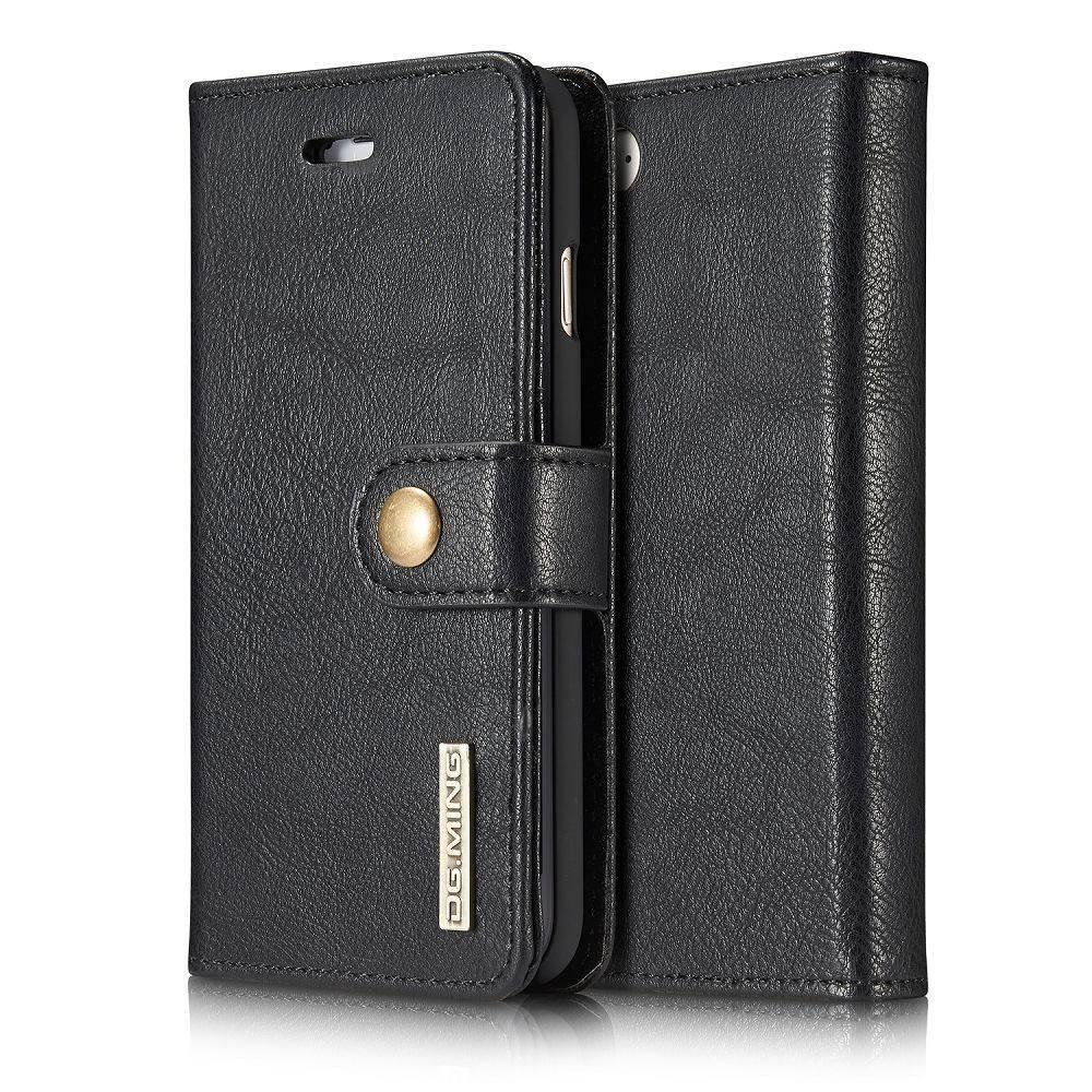 DG.Ming Zwart pu leren iPhone 7 portemonnee hoesje met los te maken case