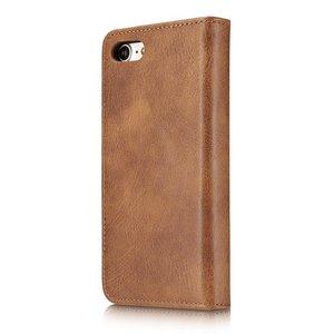 DG.Ming Bruin pu leren iPhone 7 portemonnee hoesje met los te maken case