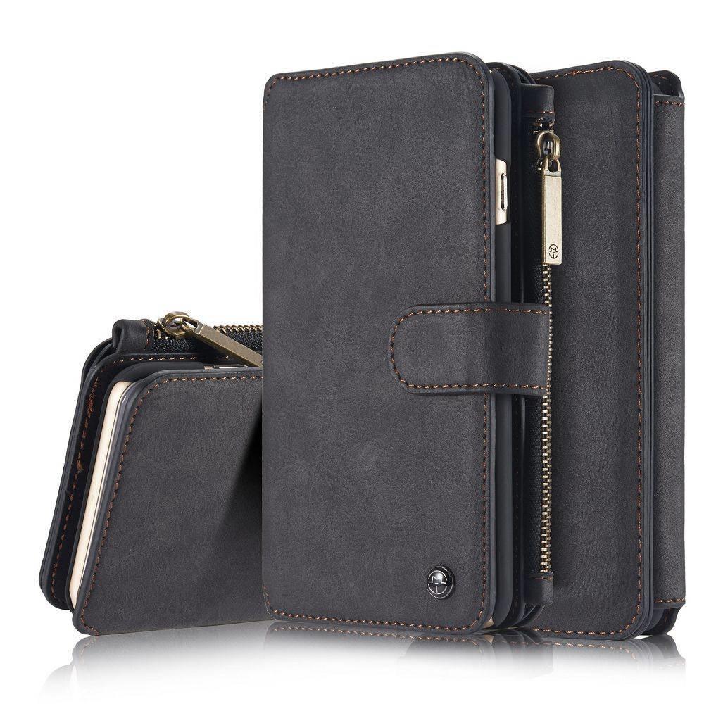 CaseMe 14 vaks 2 in 1 zwarte wallet hoesje iPhone 6 plus echt Split leer