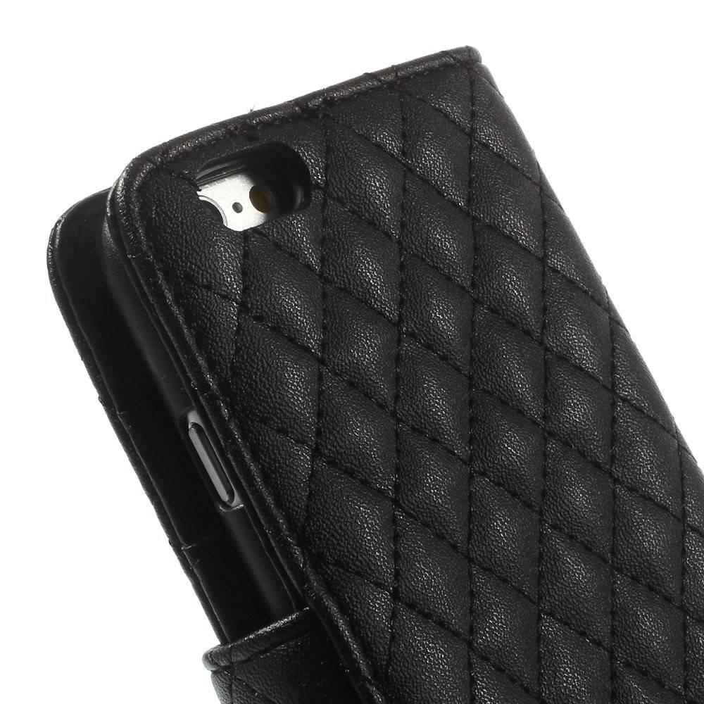 Geruit iPhone 6 portemonnee hoesje zwart