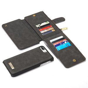 CaseMe 14 vaks 2 in 1 wallet hoesje iPhone 7 Plus zwart echt Split leer