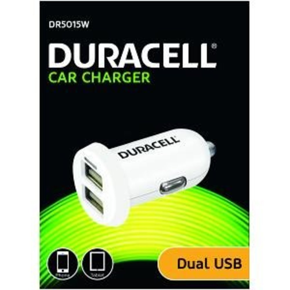 Duracell Duo USB autolader 1x 2.4A snellader en 1x 1A in 1
