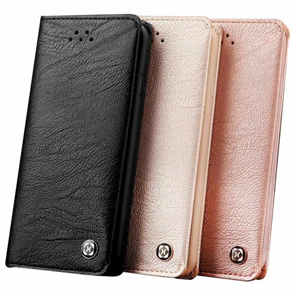 Xundd iPhone 7 plus portemonnee hoesje zwart leder uit de gentleman serie van Xundd