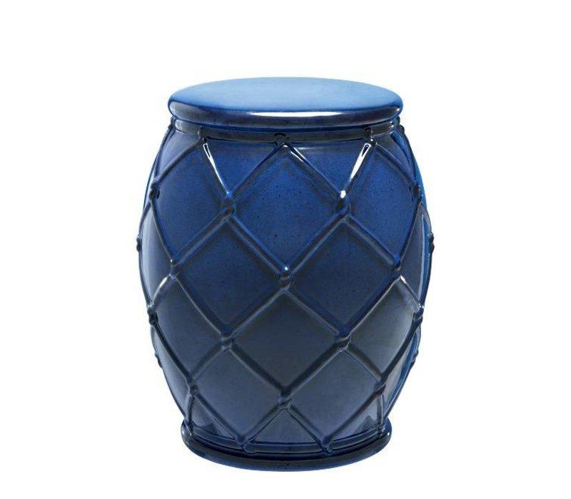Bijzettafel keramiek 'Drum Rope' blue 35x46cm