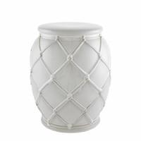 Bijzettafel keramiek 'Drum Rope' white 35x46cm