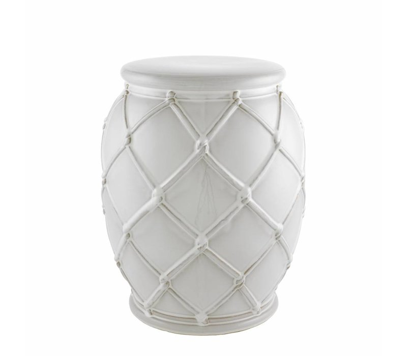 Side Table 'Drum Rope' white 35 x 46 cm