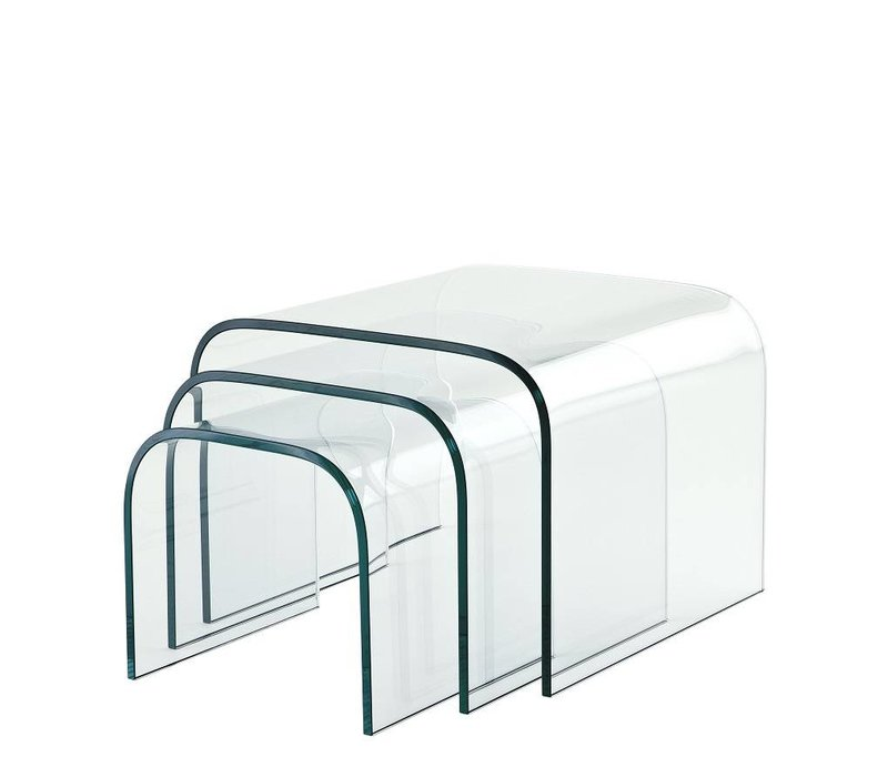 Glass side tables Reggiori Set of 3