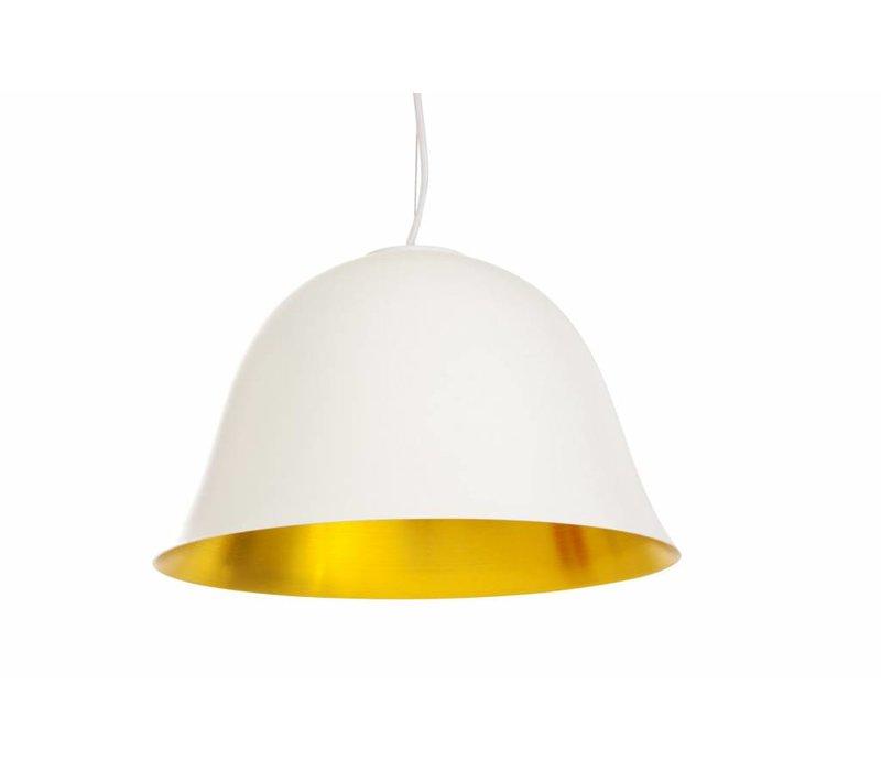 """Design-Hängelampe """"Cloche Two"""" in weiß mit goldfarbener Innenseite."""