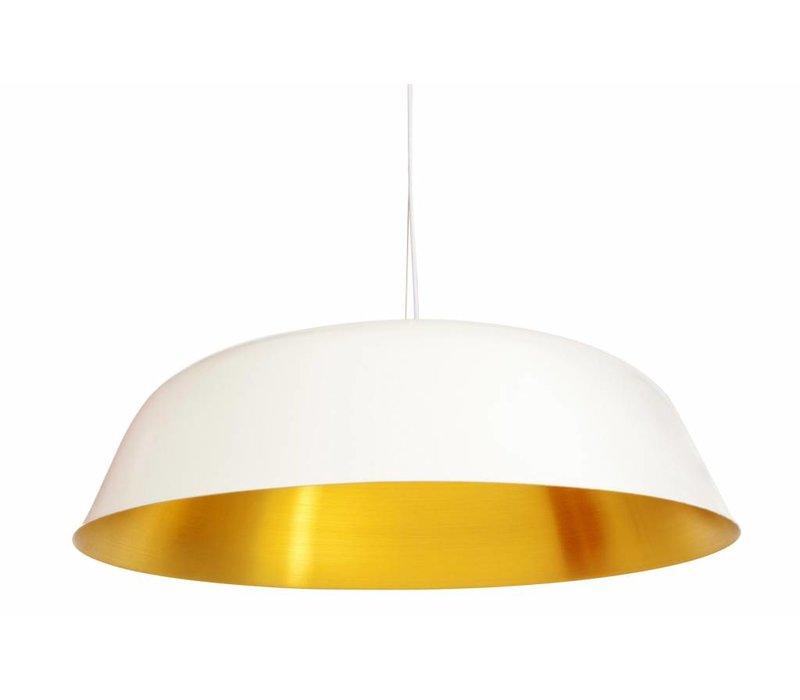 """Design-Hängelampe """"Cloche Three"""" in weiß mit goldfarbener Innenseite."""
