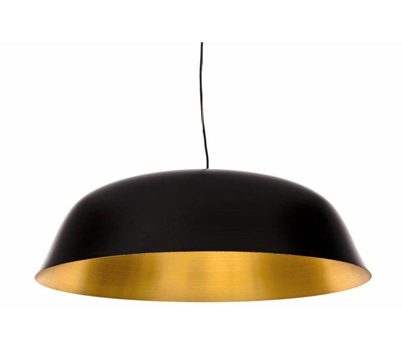 """Design-Hängelampe """"Cloche Three"""" in schwarz mit goldfarbener Innenseite."""