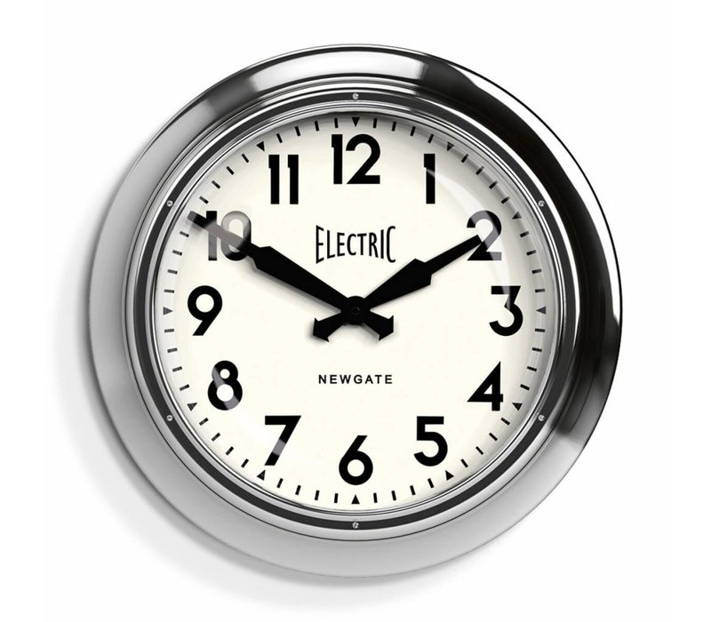 Wall clock 'The Large Electric' color 'Chrome'