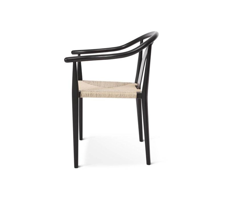 "Design-Stuhl ""Shanghai"" in Schwarz-Naturel"