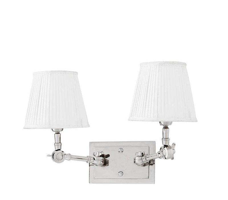 Wandlamp Wentworth Double met witte plissé kapjes