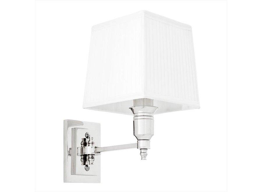 Wandlamp 'Lexington' Single White/ Nickel