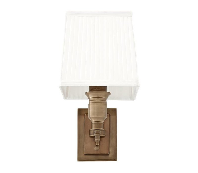 Wandlamp 'Lexington' Single White/ Brass