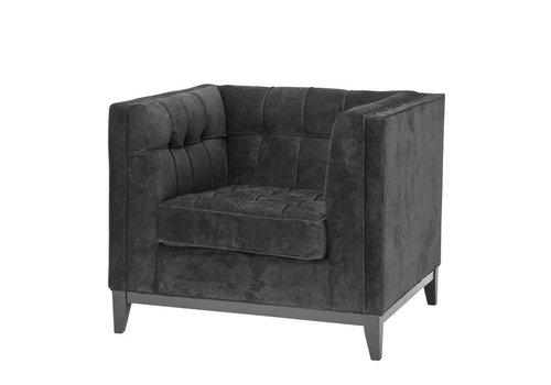 EICHHOLTZ Black Velvet Armchair 'Aldgate'