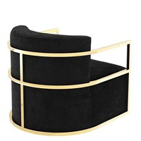 Chair 'Emilio' Black Velvet with Gold Finish