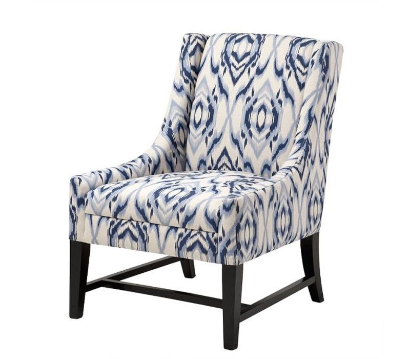 Fauteuil 'Harrison' Blue & off-white fabric
