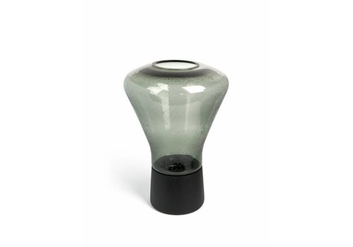 Dome Deco Hurricane 'Green drop' with wooden base - L