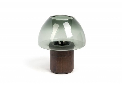 Dome Deco Hurricane 'Green' with wooden base - S
