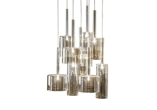 Dome Deco Hanging lamp 'Pendle Glass' Taupe