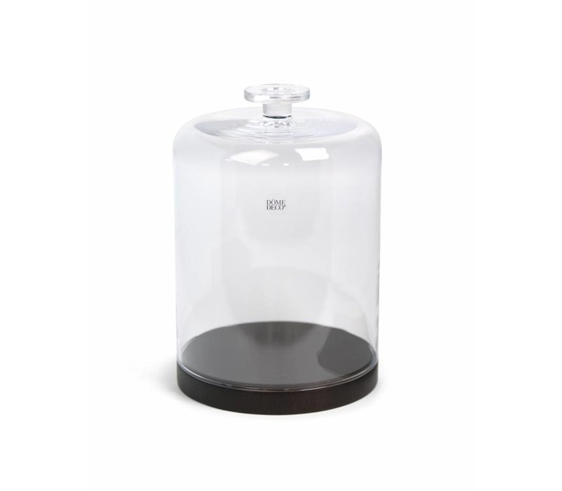 Glass Bell with wooden base - L