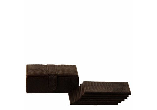 Dome Deco Coasters 'Lizard' Black - Set of 6