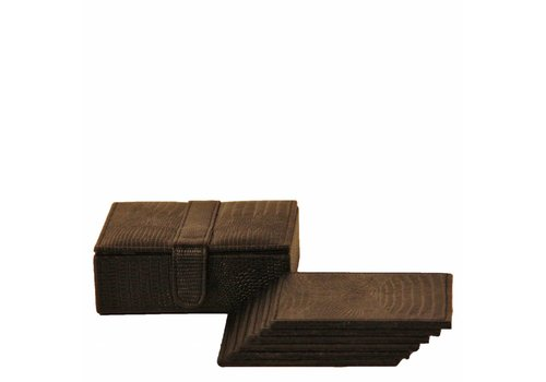 Dome Deco Coasters 'Lizard' Brown - set of 6