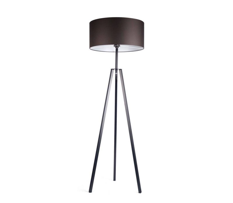 Floor lamp 'Fassani' with black iron base and brown shade