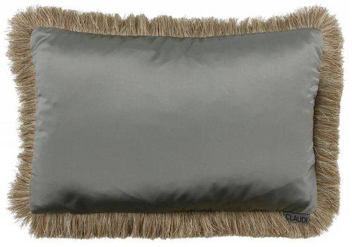 CLAUDI Chique throw pillow Dafne Fringe Grey Mint