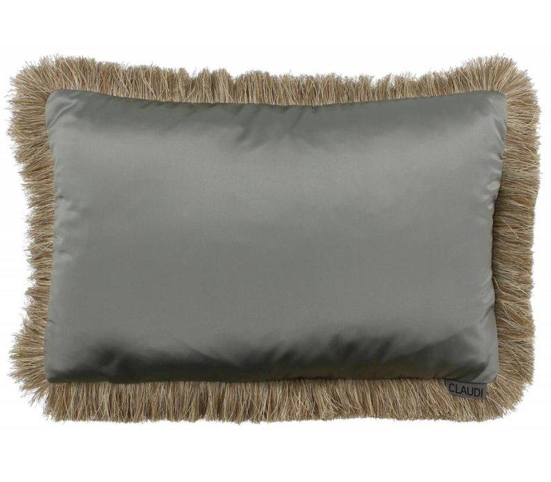 Throw pillow Dafne Fringe color Grey Mint
