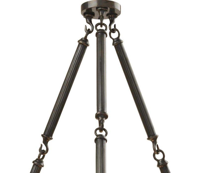 Chandelier Infinity met een zwarte 'gunmetal finish' heeft een diameter van 53cm