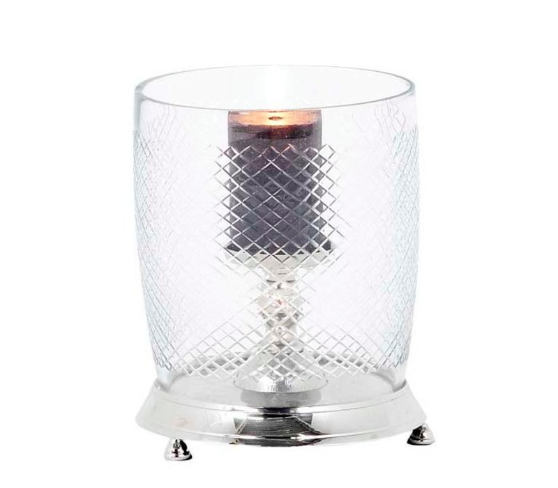 Glass candle holder with cut glass