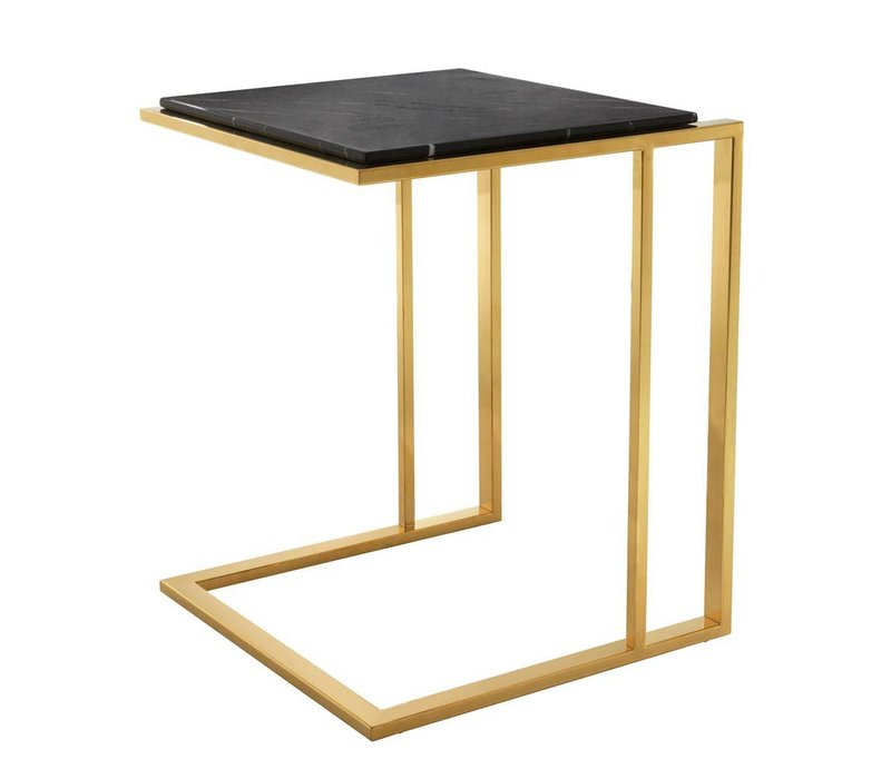 Side table marble 'Cocktail', 45 x 45 x 58 cm (h) Gold