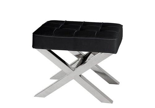 EICHHOLTZ Black leather footstool Beekman Place 60 cm