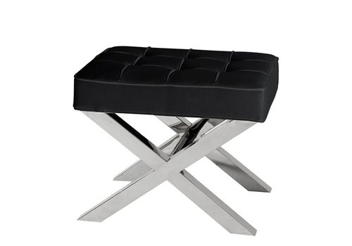 EICHHOLTZ Black leather footstool