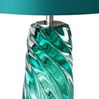 Table lamp 'Barron' stainless steel with a shade in turquoise