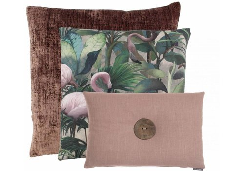 CLAUDI Chique Cushion combination Ash Rose: Flamingo, Vibeka & Prospero