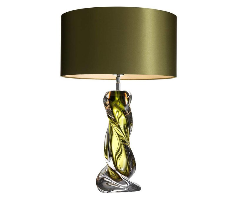 Table lamp 'Carnegie' stainless steel with a shade in Olive green