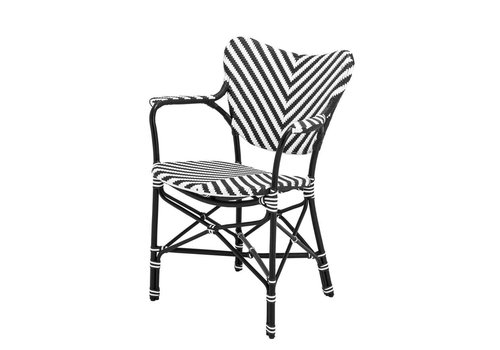 Eichholtz Dining chair - Colony black & white with arm