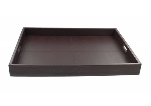 Dome Deco Tray 'Wood' with leather