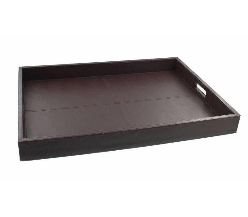 Tray 'Wood' with leather