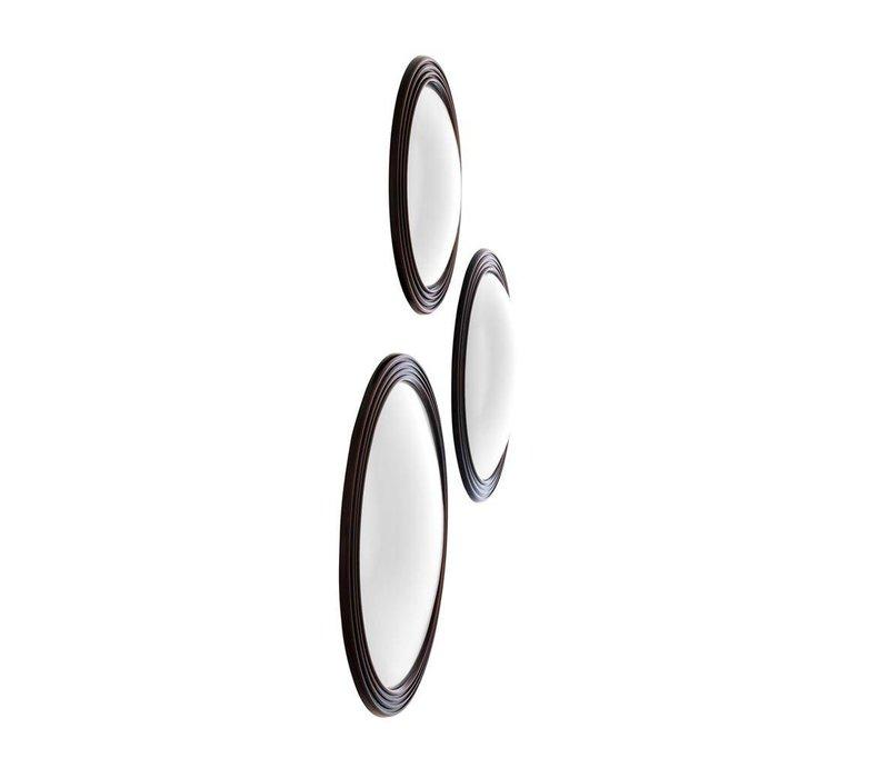Runder Designer Spiegel 'Gladstone' Farbe Schwarz mit bronze Detail