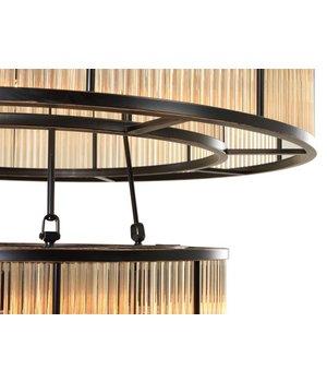 Eichholtz Chandelier Bernardi met een bronze 'vintage finish' heeft een diameter van 90 cm H. 116cm