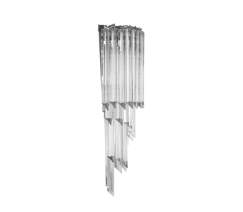 Wandlamp Marino met een heldere 'nikkel finish' heeft een afmeting van 30x 14,5x 64,5cm  - Copy